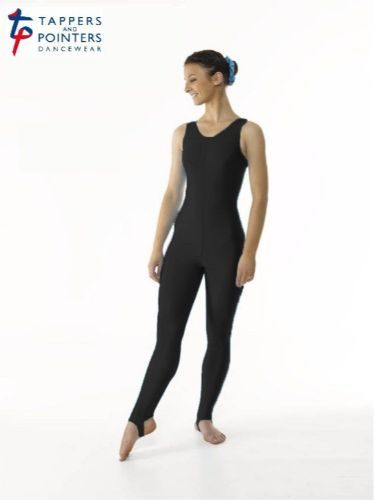 T&P Sleeveless All In One Dance Catsuit Plain Scoop Neckline Stirrup Foot Black